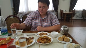Eating Laghman and Plov with Azamat who worked at Callon School